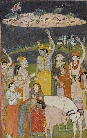 Krishna Holding Mount Govardhan ca. 1790 Color...