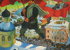 Bolshevik by Boris Kustodiev, a visual represe...