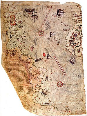 Map of the world by Ottoman admiral Piri Reis,...