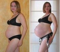 Pregnancy comparison. 26 weeks and 40 weeks. 2005