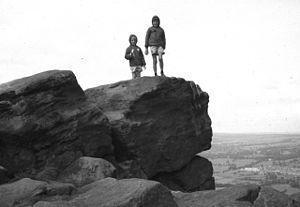 English: Rocks at Otley Chevin No doubt politi...