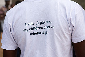 """I vote, I pay tax, my children deserve s..."