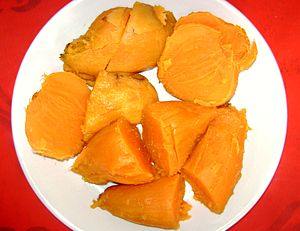 English: Sweet potatoe from Perú, boiled and p...