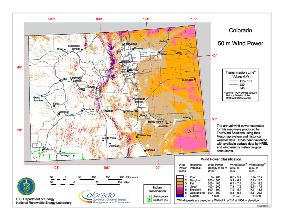 Colorado Wind Resource Map. Credit: Wikipedia commons