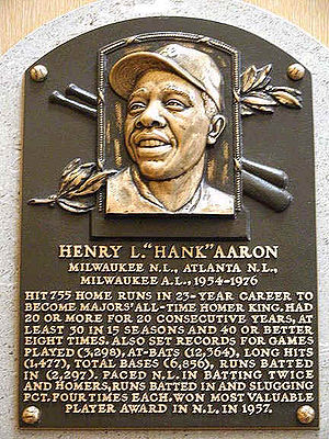 Hank Aaron's Hall of Fame plaque