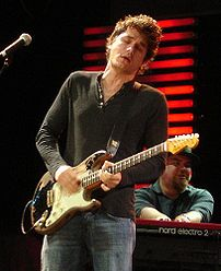 John Mayer performing at the Crossroads Guitar...