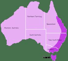 Daerah penyebaran platipus diidentifikasi dengan warna ungu terang.[3]