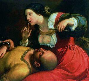 English: Delilah cutting the hair of Samson