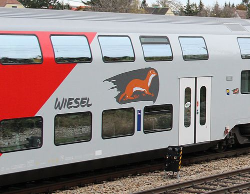 'Wiesel' logo on a ÖBB double deck commuter carriage