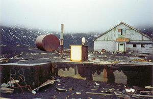 The derelict British base in Whalers Bay, Dece...