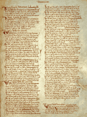 English: Page from the Domesday Book for Warwi...