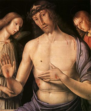 Christ supported by two angels