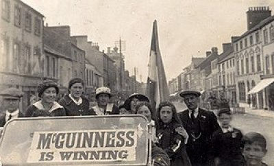 The campaign car of Joseph McGuinness, who won...