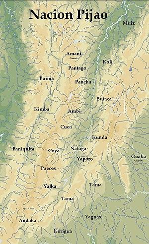 Español: Mapa del Gran Tolima territorio Pijao...