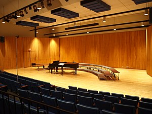 English: An interior shot of the recital hall ...