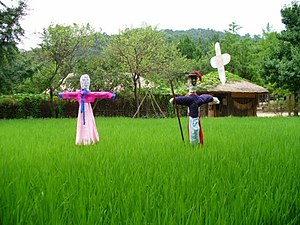 Traditional scarecrows at the Korean Folk Village