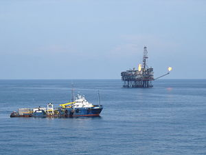 Oil rig platform and stand-by vessel ...