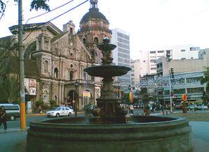 Plaza Lorenzo Ruiz in Binondo, Manila, with th...