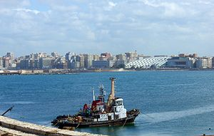 English: A view of Alexandria harbour in Egypt...
