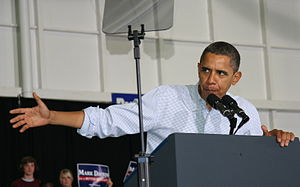 Barack Obama speaking at a rally at the Univer...