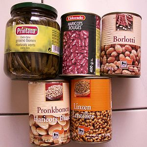 Cans of several types of beans
