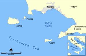 Location of Procida in the Tyrrhenian Sea