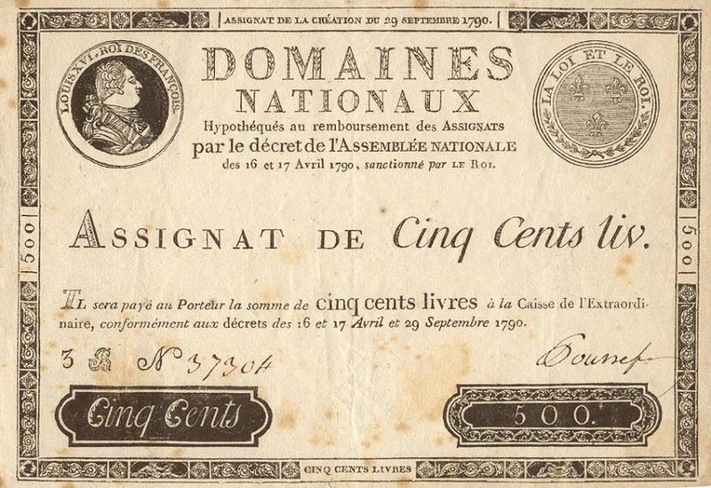 Unilateral royal 500 livres assignats  with the profile of Louis XVI, 1790.