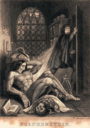 English: Frontispiece to Mary Shelley, Franken...