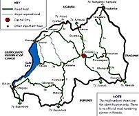 Map showing principal routes in Rwanda