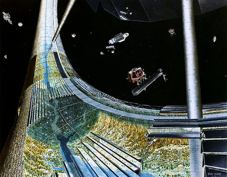 Artist's impression of the Stanford torus under construction - by Don Davis