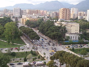 The main boulevard in Tirana, Albania