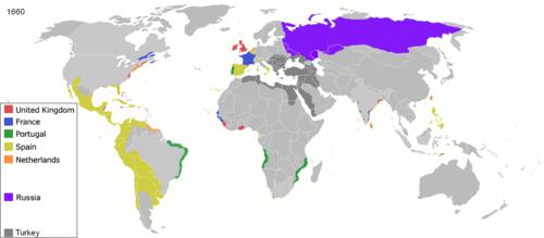 Colonización europea en 1660.