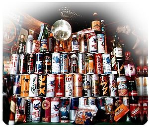 English: collection of many energy drinks Deut...