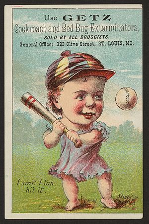 English: Early Baseball advertisement for a bu...