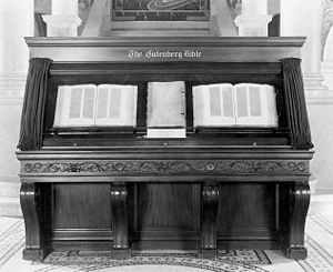 The Gutenberg Bible on display at the Library ...