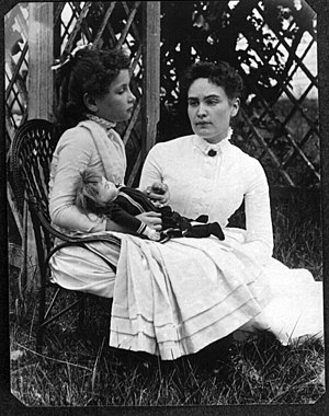 Photograph of Helen Keller at age 8 with her t...