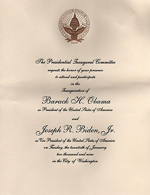 English: Invitation to attend the 2009 Inaugur...