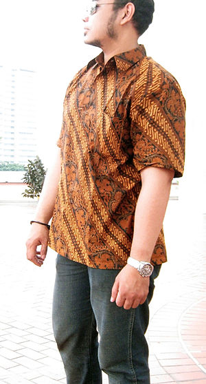 Indonesian batik men shirt Central Javanese Su...