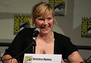 Jessica Hynes, at the 2008 Comic-Con Spaced panel.