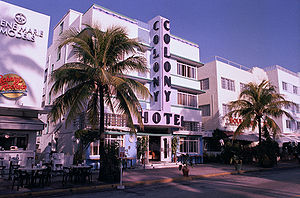 The Art Deco district of South Beach in Miami,...