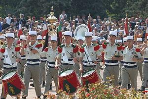 Musique de la Légion étrangère défilant lors d...