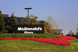 Sign outside McDonald's Plaza, one of the four...