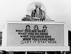 A billboard encouraging secrecy amongst Oak Ri...