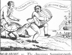 "Political cartoon depicting merchants attempting to dodge the ""Ograbme"". Embargoes led to smuggling which led to the Black Snake Affair"