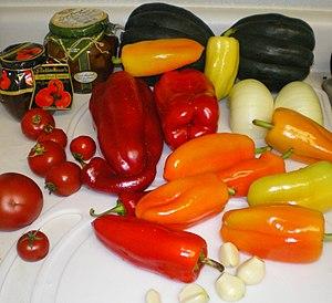 Peppers Butternut squash tomato onions garlic ...