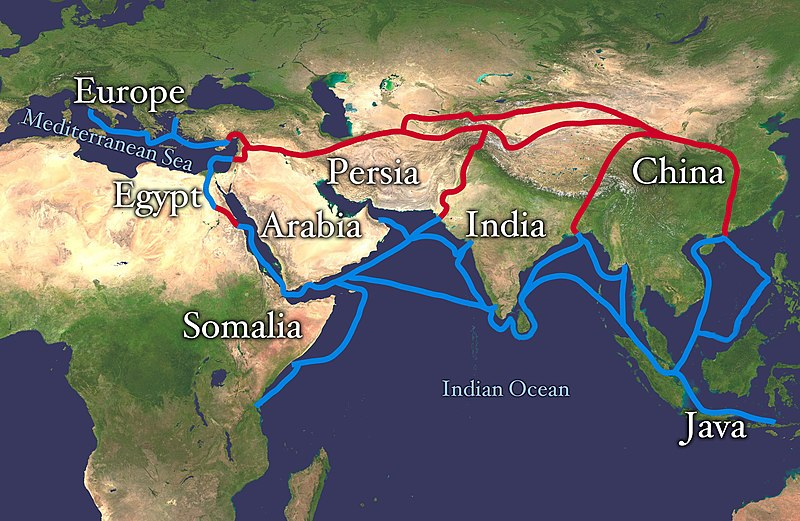 Extent of Silk Route/Silk Road. Red is land route and the blue is the sea/water route.