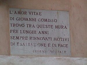 Commemorative inscription on the wall of the h...