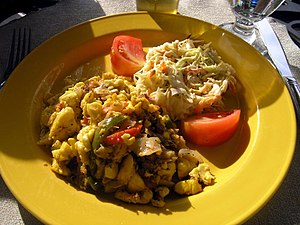 English: The Jamaican national dish of ackee a...