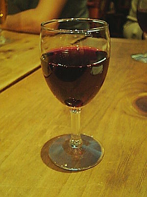 Glass of Beaujolais wine.