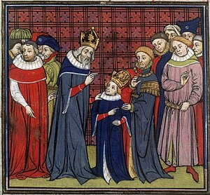 English: Charlemagne and his son, Louis the Pi...